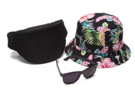 Men's Festival Accessory Kit w/ Floral Bucket, Fanny Pack and Horn-Rimmed