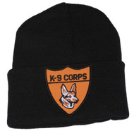 3D Patch Embroidery Law Enforcement Black Cuff Beanie K-9 Corps