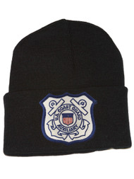 3D Patch Embroidery Law Enforcement Black Cuff Beanie United States Coast Guard