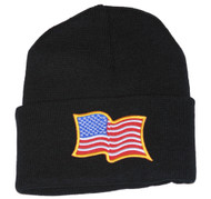 Delux 3D Patch Embroidery Black Cuff Beanie United States Patriotic Flag