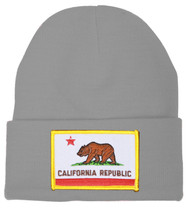 California Republic Knit Beanie, Charcoal California Flag