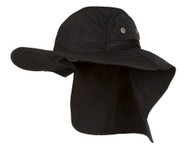 4 Panel Large Bill Flap Sun Hat - Black