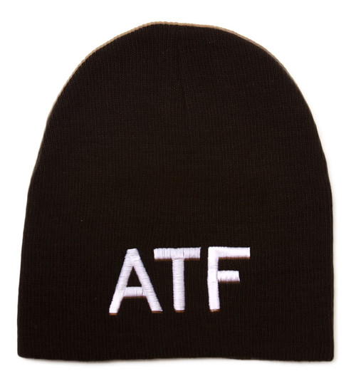 Cuffless Embroidered ATF Text Style Beanie - Black