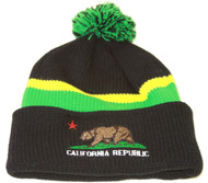 California Republic Winter Cuff Beanie w/ Pom - Black Green