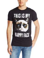 T-Line Men's Grumpy Cat Happy Face T-Shirt