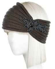 Womens Knitted Headband w/ Floral Piece