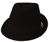 Black Fashion Fedora with Spade Emblem Band