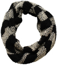D&Y Women's Striped Textured Knit Infinity Scarf - Black