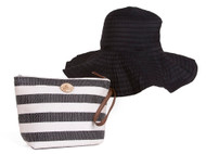 Capelli Straw Tote Hand Bag w/ Sun Hat