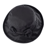 WAXED COTTON BOW CANVAS LADIES WIDE BRIM HAT