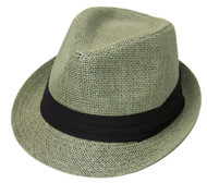 The Hatter Company Straw Tweed Fedora Hat- Green