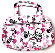 Clover Pinned Gothic Chain Style Hand Bag - White Skull Heart Pattern