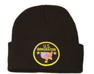 Delux Military 3D Embroidery Law Enforcement Beanie US Immigration, Black