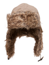 Winter Faux Fur Flight Trooper Aviator Hat Cap - Khaki