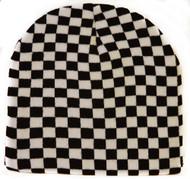 Checkered Square Winter Cuffless Beanie - White