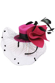 Womens Flower Top Hat with French Netting