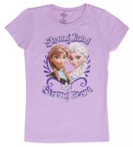 Juniors Frozen Strong Bond Strong Heart Pink Short-Sleeve T-Shirt