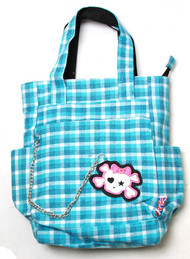 Clover Tote Chain Style Hand Bag - Sky Blue and White Plaid with Cute Skull