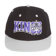 Retro NHL Los Angeles Kings Wave Snapback Hat Cap - 2 Tone Black Grey