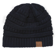 Thick Knit Oversized Beanie Cap Hat - Navy