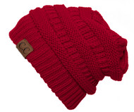 Thick Knit Soft Stretch Beanie Cap - Red