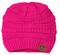 Thick Knit Soft Stretch Beanie Cap - Neon Pink