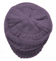 Thick Slouchy Knit Oversized Beanie Cap Hat - Violet