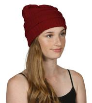 Trendy Warm CC Chunky Soft Stretch Cable Knit Soft Beanie Skully, Wine
