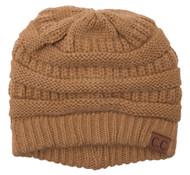 Thick Knit Soft Stretch Beanie Cap - Camel