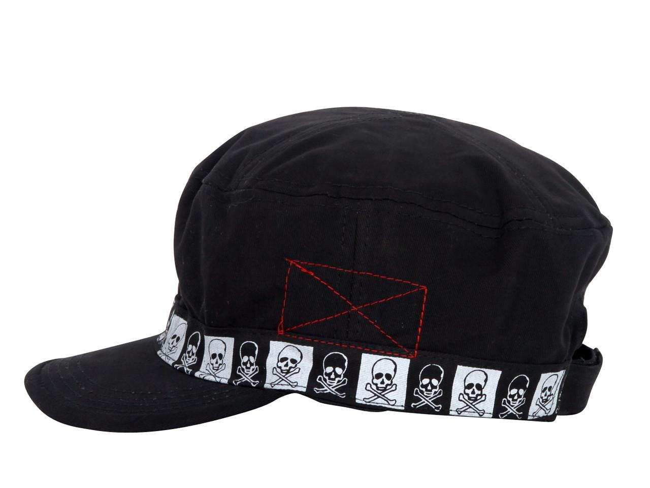 Checkered Skulls Black Cadet Cap - Gravity Trading de3165c00853