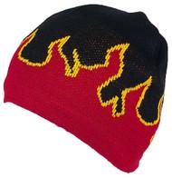 Mega Cap Adult Flames Design Beanie Skull Cap W/Fleece Lining