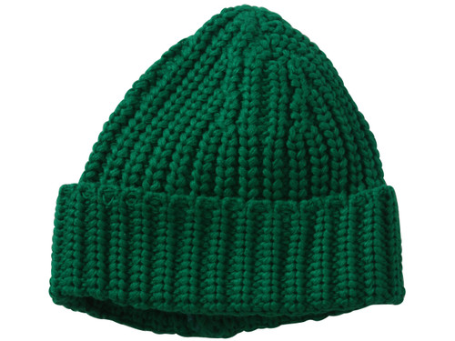 Crochet Knit Design Cuffed Beanie - Green
