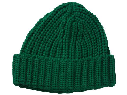 Crochet Knit Design Cuffed Beanie - Green