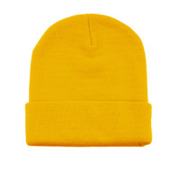 12 Inch Long Knitted Beanie - Yellow