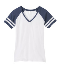 Gravity Threads Womens Distressed Stripe V-Neck Shirt