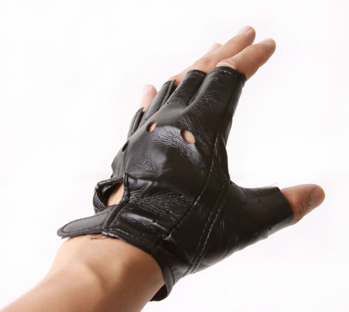 Fingerless Faux Leather Motorcycle Gloves, Black