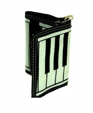 Piano Keyboard Tri-Fold  Wallet W/Key Ring - (One Color)