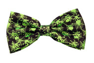 Pre-tied Bow Tie in Gift Box- Green Skulls & Cobwebs