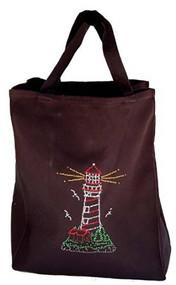 Lighthouse Rhinestone Essential Tote Bag - Black