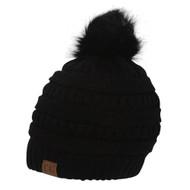 Gravity Threads Knit Pom Pom Beanie Hat