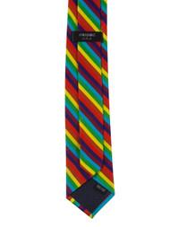 Rainbow Striped Thin Style Men's Hand Made Neck Tie