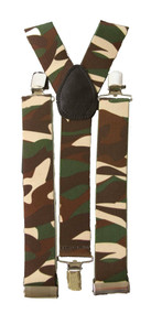 "Camouflage Elastic Clip-On Suspenders  1 1/2 "" wide thicker"