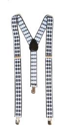 Haze Plaid 3 Clip Stretchable Suspenders