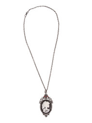 Victorian Skeleton Girl Cameo Necklace