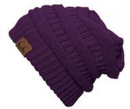 Thick Knit Soft Stretch Beanie Cap - Purple