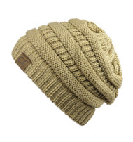 Trendy Warm CC Chunky Soft Stretch Cable Knit Soft Beanie Skully, Gold