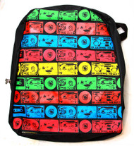 Clover Black Kid Sized Backpack - Multicolored Striped Pattern