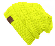 Trendy Warm CC Chunky Soft Stretch Cable Knit Soft Beanie, Neon Yellow