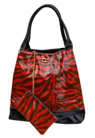 Large Glitter Zebra Print Handbag Purse Tote W/Bonus Coin Purse - Red C873