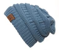 Denim Thick Knit Soft Stretch Beanie Cap